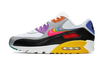 Nike Air Max 90 Be True White Multi Color Black Wolf Grey CJ5482-100