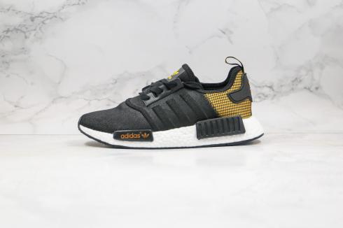 Adidas NMD R1 Core Black Cloud White Yellow Shoes FU2461
