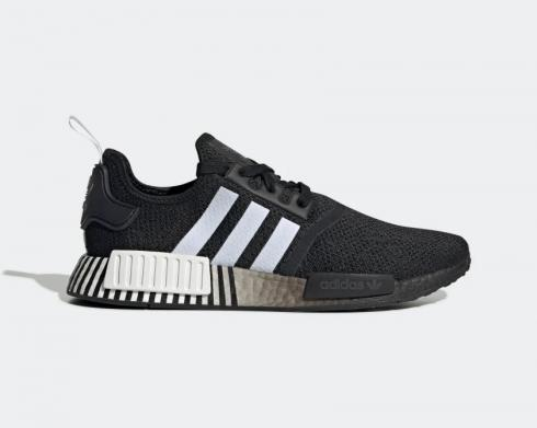 Adidas NMD R1 Glitch Core Black Cloud White Running Shoes FV3649