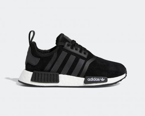 Adidas NMD R1 J Core Black Shiny Blue Cloud White Shoes F97579