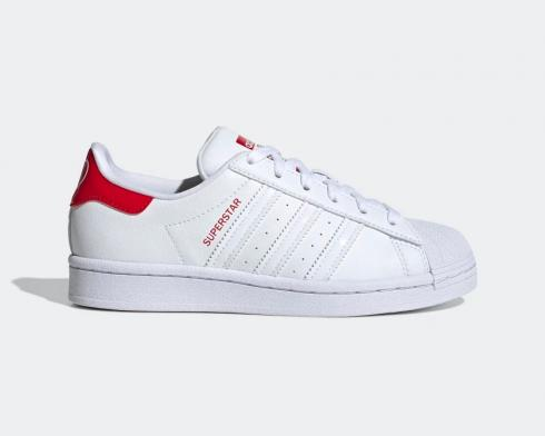 Adidas Originals Superstar Cloud White Scarlet Red Kids Shoes FW0817