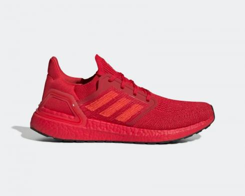 Adidas UltraBoost 20 Core Black Solar Red Sample Boost Scarlet EG0700