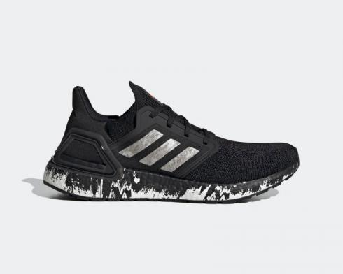 Adidas UltraBoost 20 Marble Core Black Footwear White Signal Coral EG1342
