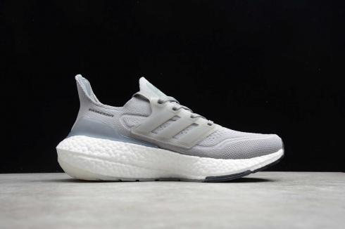 Adidas Ultra Boost 21 Cool Grey Cloud White Core Black Jogging Shoes FY0381