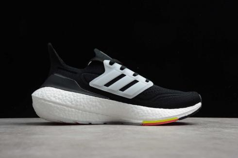 Adidas Ultraboost 21 Core Black Cloud White Yellow Shoes FY0356