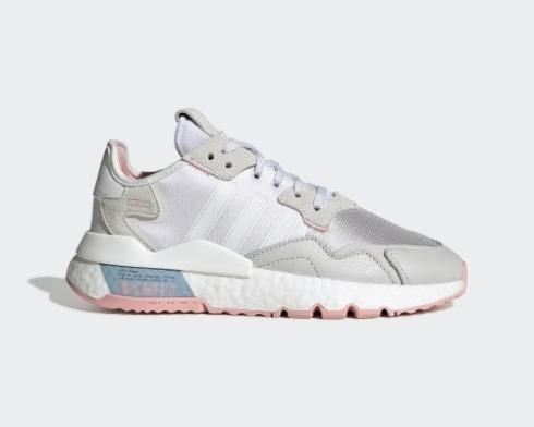 2020 Adidas Originals Nite Jogger Boost White Glory Pink Grey FV4136
