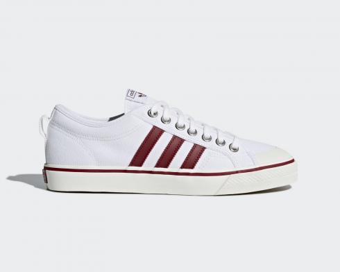 Adidas Nizza Footwear White Burgundy Red Canvas Shoes CQ2328