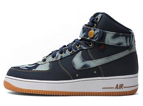 Nike Air Force 1 High 07 Denim Brown Red White Mens Running Shoes 631039-400
