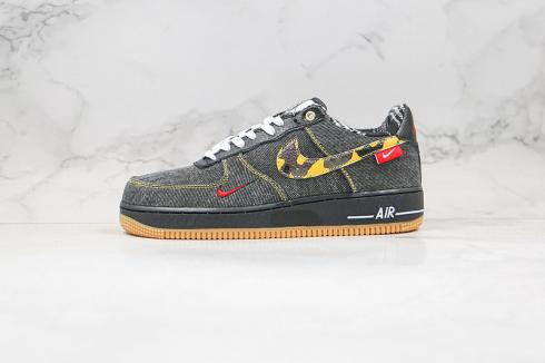 Nike Air Force 1 Low Camo Denim Remix Black Multi-Color Metallic Gold DB1964-001