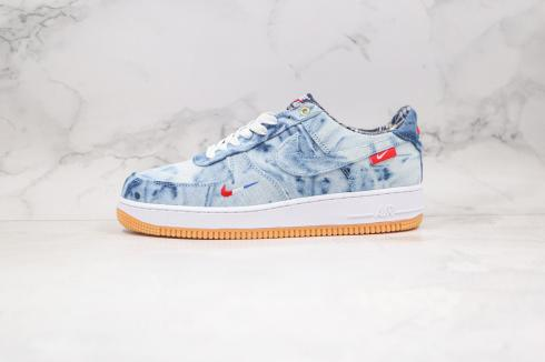 Nike Air Force 1 Low Washed Denim Blue Gum Red DB1964-003