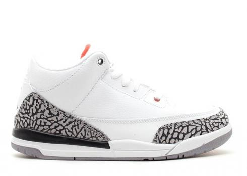 Air Jordan 3 Retro Ps Fire Grey Cement Black White Red 429487-105