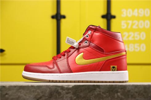 2019 Air Jordan 1 High Iron Man Red White Gold Mens Shoes 555088-188