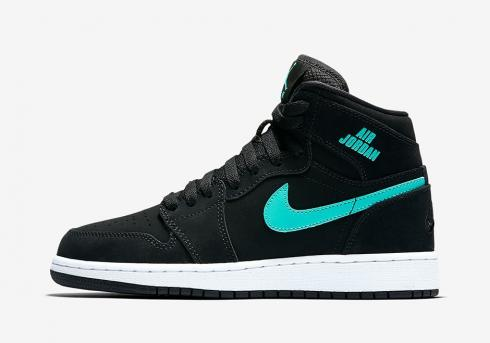 Air Jordan 1 Retro High BG Hyper Jade White Kids Basketball Shoes 705300-022