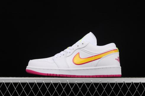 Air Jordan 1 Low GS White Pink Yellow Shoes CU4610-100