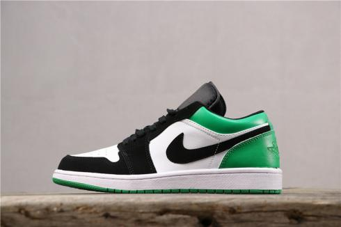 Air Jordan 1 Low White Black Green Mens Basketball Shoes 553558-129