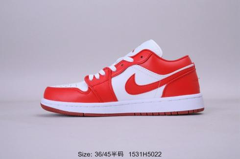 Air Jordan 1 Low White Red Goods Mens Basketball Shoes 553550-611