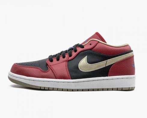 Air Jordan 1 Retro Low Gym Red Gold Mens Basketball Shoes 553558-613