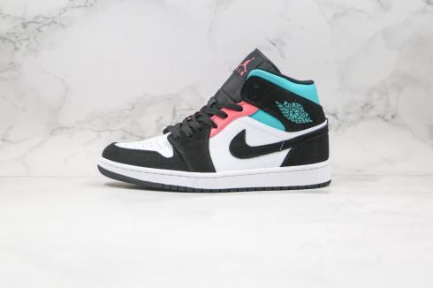 2020 Jordan 1 Mid SE South Beach White Black Tiffany Bright Crimson Basketball Shoes BQ6931-116