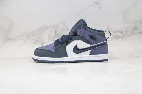 Air Jordan 1 Mid GS Obsidian Sanded Purple White Black 554725-445