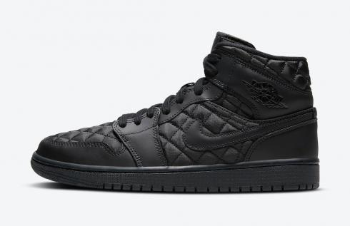 Air Jordan 1 Mid SE Black Quilted White Basketball Shoes DB6078-001