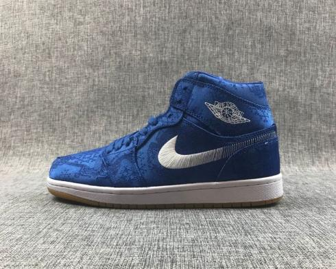 Air Jordan 1 Mid SE Fearless Edison Chen CLOT White Brown Blue CU2804-400