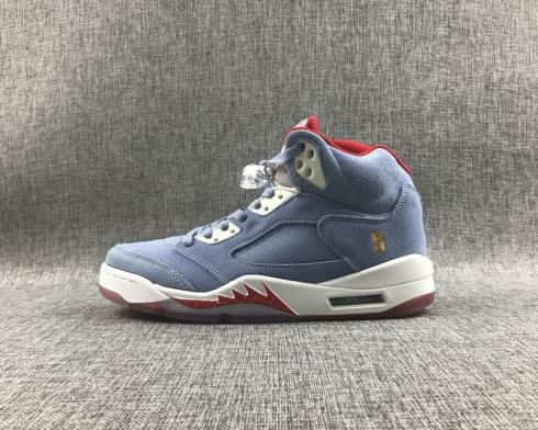 Trophy Room x Air Jordan 5 Ice Blue White University Red CL1899-107