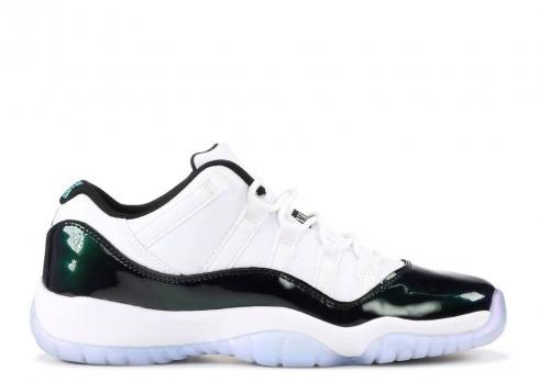 Air Jordan 11 Retro Low Bg Gs Emerald White Rise Black 528896-145