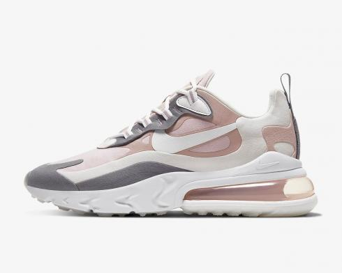 Wmns Nike Air Max 270 React White Grey Pink Running Shoes CL3899-500