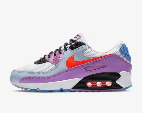 Wmns Nike Air Max 90 Carnival White Violet Star University Blue CW6029-100