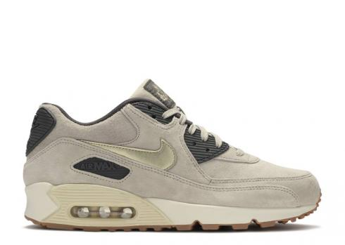 Nike Wmns Air Max 90 Premium Suede String Gold Sail Metallic Dark Grain Storm 818598-200