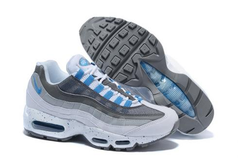 Nike Air Max 95 White Hyper Cobalt Blue Men Running Shoes 609048