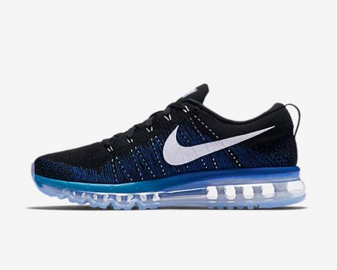 Nike Flyknit Air Max 2015 Black White Game Royal Blue Lagoon Running Shoes 620469-014