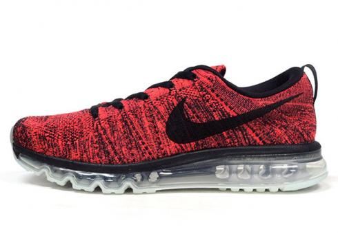 Nike Flyknit Air Max Black Bright Crimson Hyper Orange Running Shoes 620469-006