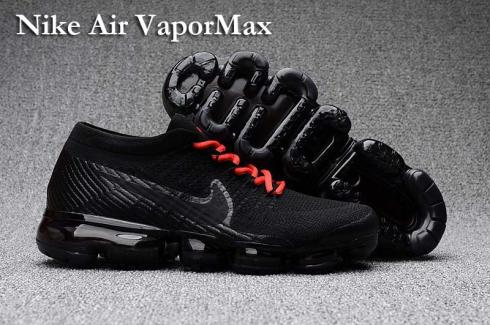 Nike Air VaporMax Men Women Running Shoes Sneakers Trainers Pure Black Red  Lace 849560