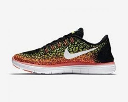 Wmns Nike Free RN Distance Black White Volt Hot Lava Running Shoes 827116-017