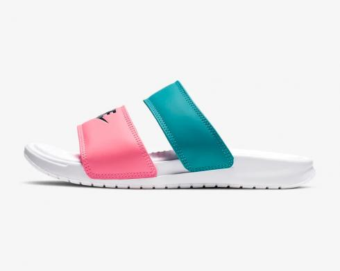 Wmns Nike Benassi Duo Ultra Slide White Blue Pink Womens Shoes 819717-105