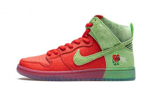 Nike Dunk High SB Strawberry Cough University Red Spinach Green CW7093-600