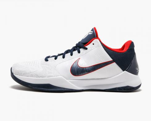 Nike Zoom Kobe V 5 USA Gold Medal Olympic White Red Blue 386429-103