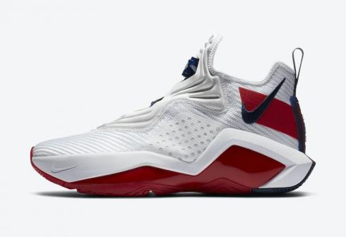 Nike LeBron Soldier 14 White University Red Basketball Shoes CK6024-100