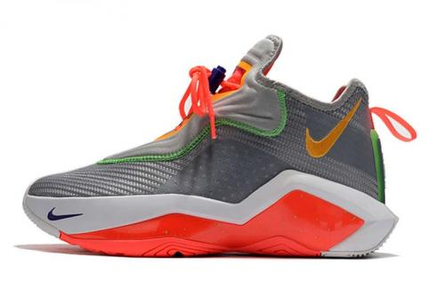 Nike Lebron Soldier XIV 14 James EP Hare Light Smoke Grey Silver Laser Orange Basketball Shoes CK6047-001