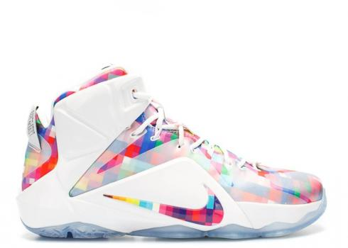 Nike Lebron 12 Ext Prism Color Multi White University Red 748861-900
