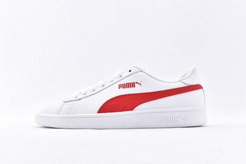 Puma Smash V2 Leather L Sneaker White Red Casual Shoes 365215-09
