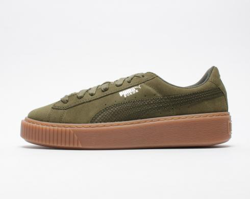 Puma Suede Platform Animal Womens Low Top Olive Lace Up Trainers 365109-03