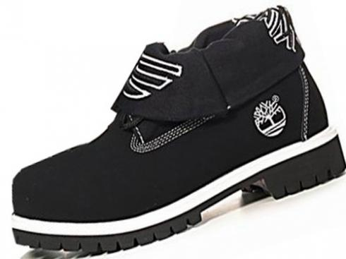 Mens Timberland Roll-top Boots Black White