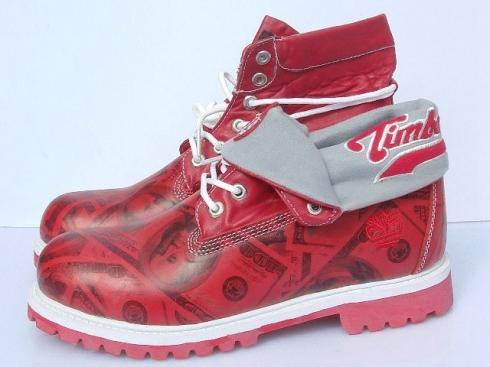 Timberland Womens Roll top Boots Grey Red