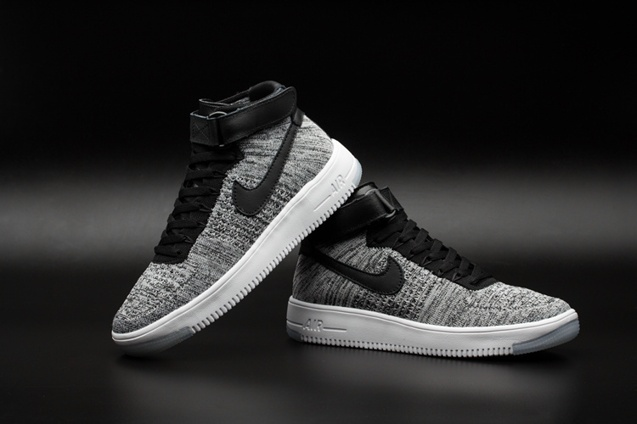 Nike Air Force One AF1 Ultra Flyknit Mid QS Bright Grey Black Men Lifestyle Shoes 817420 002