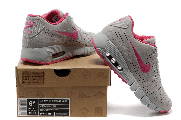 Nike Air Max 90 Current Moire Light Grey Cherry Red 344081